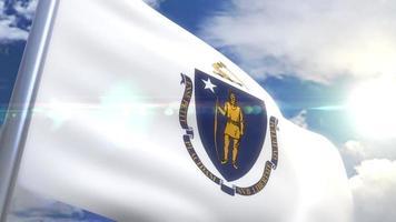 agitando bandeira do estado de massachusetts eua