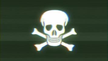 Icône de crâne et os croisés sur une mauvaise bande de film