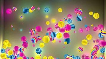 explodindo bolas saltitantes tecnicolor em 3d video