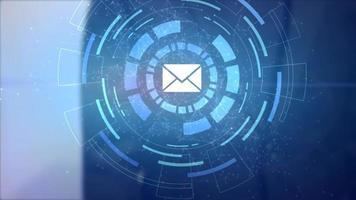 homem de negócios mão holograma projeção hud endereço de e-mail ícone de carta de correio