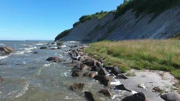 aerial view Coastal Landscape at Kap Arkona on Ruegen Island baltic Sea video