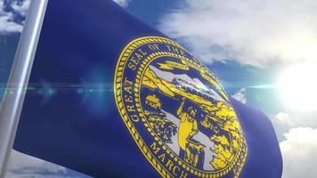 agitando bandeira do estado de nebraska eua