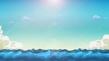 desenho animado oceano paisagem loop de fundo video