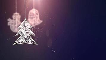 papel branco sinais de árvore de natal caindo festivo celebração sazonal espaço reservado fundo azul video