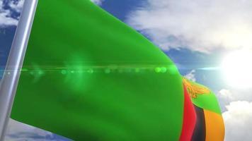 Bandeira da Zâmbia com animação