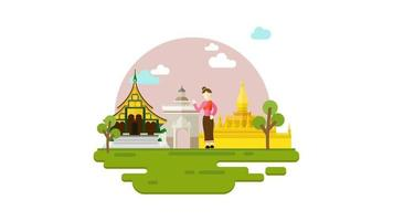 Tourism in Laos Motion graphic, Travel concept