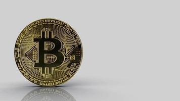 Bitcoin criptomoneda dorada giratoria