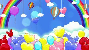 Colorful Cartoon Balloons And A Rainbow