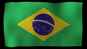estoque de loop de movimento 4k da bandeira brasileira