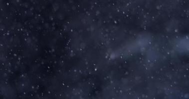 pequenas partículas de neve caindo lentamente em fundo escuro em 4k video