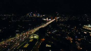 Traffic on Harbor Bridge at Night 4K