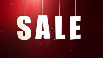 Carta de ventas recién colgada de una cuerda con un hermoso fondo rojo. video
