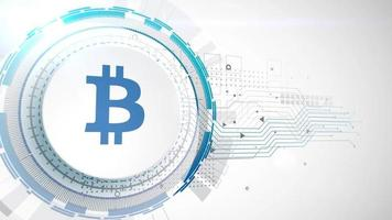 bitcoin criptomoeda ícone animação branco elementos digitais tecnologia fundo video