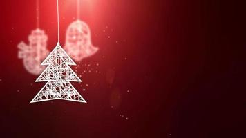 papel branco sinais de árvore de natal caindo festivo celebração sazonal espaço reservado fundo vermelho video