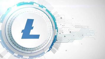 litecoin criptomoneda icono animación blanco elementos digitales tecnología fondo
