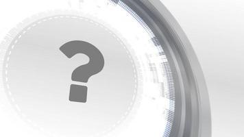 signo de interrogación signo faq icono animación blanco elementos digitales tecnología fondo