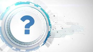 question mark sign faq icon animation white digital elements technology background video