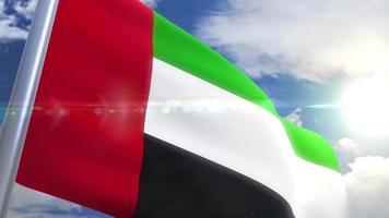 Ondeando la bandera de la animación de los Emiratos Árabes Unidos