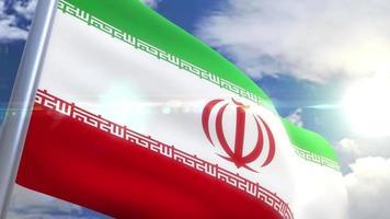 Waving flag of Iran Animation video