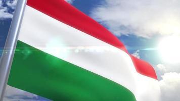 Ondeando la bandera de Hungría animación video