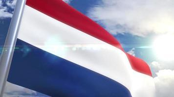 Ondeando la bandera de Holanda animación video