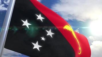 bandera ondeante de papua nueva guinea animación video