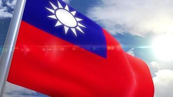 bandera ondeante de taiwán animación video