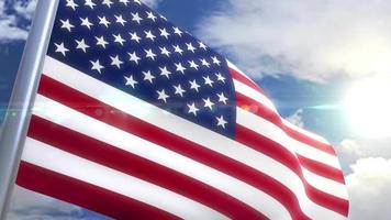 Bandeira dos EUA nos animação