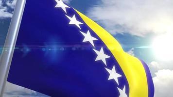 bandera ondeante de bosnia y herzegovina animación video