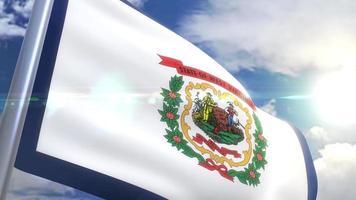 agitando bandeira do estado de west virginia eua