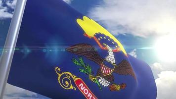 agitando bandeira do estado da Dakota do Norte eua