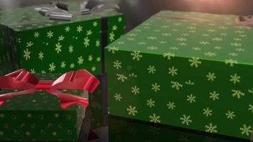 animation de cadeau vert anniversaire de noël video