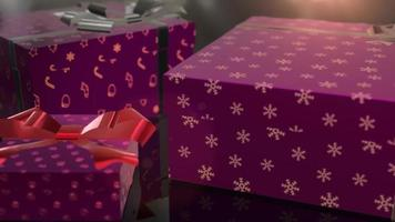 animation de cadeau violet anniversaire de Noël video
