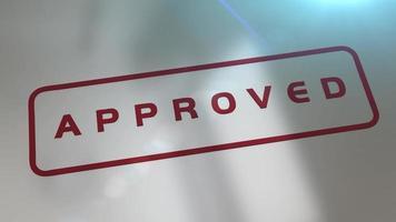 carimbo de rupper animado 3d carimbando a palavra aprovada em um subterrâneo refletivo