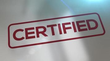 carimbo de rúpia animado 3d carimbando a palavra certificado em um subterrâneo refletivo