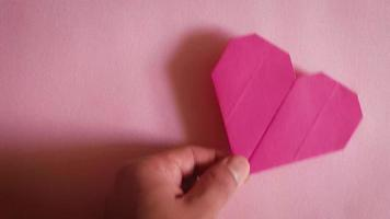 Origami Red Heart On Pink Background 2083