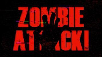 b sfondo di attacco di zombie di film con effetto contrazione