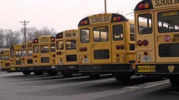 uma fila de ônibus escolares