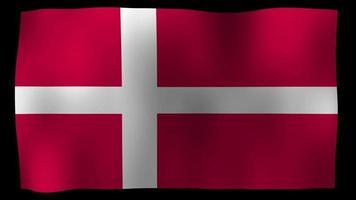 vídeo de stock de bucle de movimiento de 4k de bandera de Dinamarca