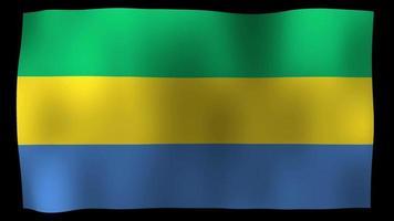 vídeo de stock de bucle de movimiento de 4k de bandera de gabón