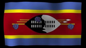vídeo de stock de bucle de movimiento de 4k de bandera de Swazilandia
