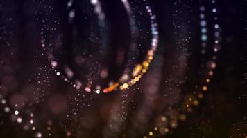 esferas brilhantes formadas com pontos desbotados girando em fundo escuro video
