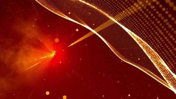 gepunktetes Netz, das auf dem Hintergrund des Weltraums mit Sternen wellig ist video