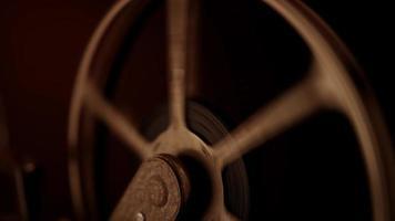 statische opname van de spoel die snel draait omdat de film voorbij is in 4k