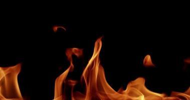 fogo controlado com altas cúspides dançando no fundo preto em câmera lenta 4k