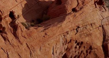 Vertical panning shot going down showing beautiful red rocks in desert landscape in 4K