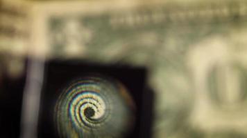 detalhe da nota de um dólar