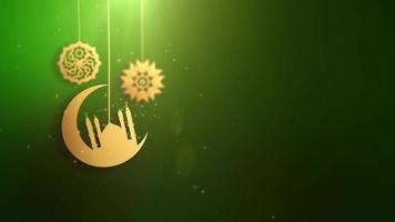 Ramadán ramazan eid mubarak símbolos árabes cayendo sobre una cadena de fondo verde