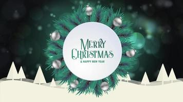 Merry Christmas greeting card animation green bokeh background trees snow