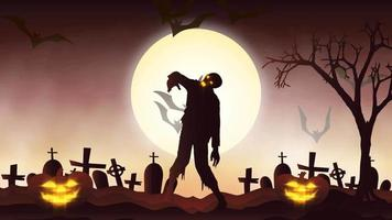 Halloween background animation with the concept of Spooky Pumpkins, Moon and Bats and Zombie